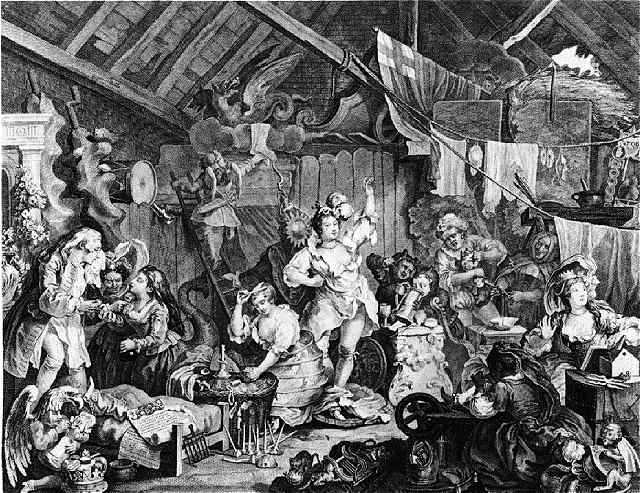 William Hogarth, Strolling Actresses Dressing in a Barn.
