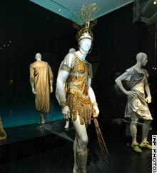 A mannequin displays a Roman military uniform designed by John Galliano for Christian Dior.
