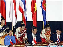 Asean leaders at signing ceremony, Vientiane 2004