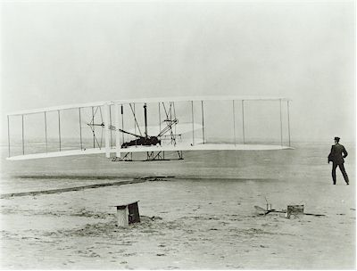 The Flyer as it lifted into the air (Photo courtesy of NAA)