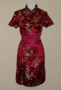 Burgundy Chinese Dress