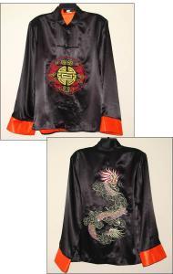 Silk Black Jacket with Orange