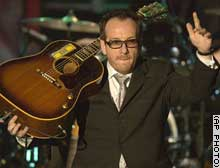 Elvis Costello was inducted into the Rock and Roll Hall of Fame on Monday.