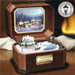 Thomas Kinkade Holiday Gathering Collectible Music Box - Thomas Kinkade Holiday Gathering Music Box with 3-D Winter Scene and Mahogany-finished Case. Limited Edition Exclusive!