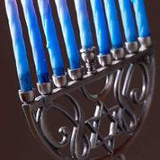 Nine-branched Menorah used during celebration of the Jewish holiday of Hanukkah.