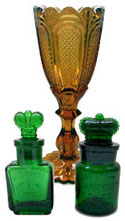 Victorian Davidson amber glass vase and Crown Perfumery green glass perfume bottles - c.1880's