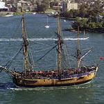 Wreck found: Captain Cook used the Endeavour to map the east coast of Australia. [Replica ship]