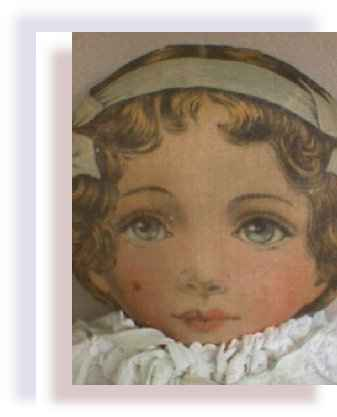 Art Fabric 24inches cloth doll early 1900 face view