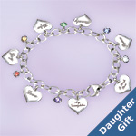 Heartfelt Wishes Sterling Silver-Plated Heart Shaped Charm Bracelet Gift For Daughter - Heart Charm Bracelet an Inspirational Jewelry Gift for Daughters! Six Swarovski Crystals and Engraved Verses!