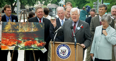 At a 2004 press conference, McDermott ans other members of Congress speak against a proposal to count hatchery salmon as wild salmon.