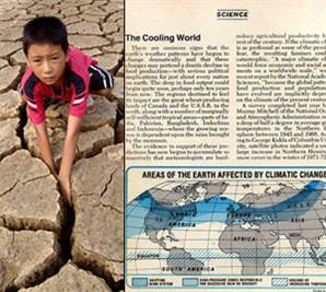 Hot and Cold: Signs of global warming at a dried-up pond in China in August 2006 (left) and a 1975 NEWSWEEK report on the threat of global cooling.