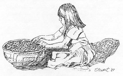Picture of a girl with hands mixing food in a bowl