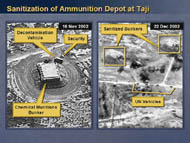 slide 13 aerial photos of decontamination vehicle at chemical munitions bunker, sanitized bunkers and UN vehicles