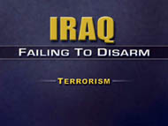 slide 38 introductory slide to Iraq: failing to disarm - terrorism section