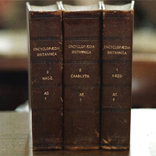 Versions of the original three leather-bound editions of the Encyclopaedia Britannica