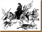 """The Cleveland Plain Dealer published this cartoon - captioned """"General Rosalie Jones Crossing the Delaware - on Feb. 15, 1913."""