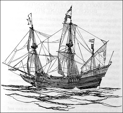A 17th century Dutch merchant vessel.