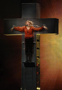 Madonna's mock crucifixion, as seen here during a concert in Cardiff, Wales in July, angered religious leaders in Rome on Sunday.