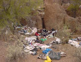 photo of trash in the wilderness