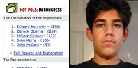 Screenshot of Hot Pols in Congress and photo of the programmer who built it, Aaron Swartz.