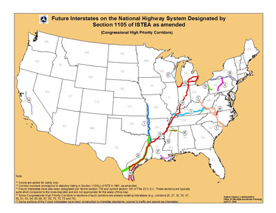 Future Interstates on the National Highway System Designated by Section 1105 of ISTEA as amended. (Congressional High Priority Corridors.) Click image for text version.