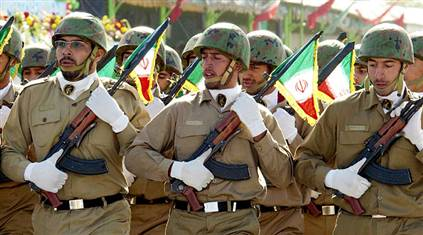 Members of the Iranian Revolutionary Guard Corps march in remembrance of the Iran-Iraq War