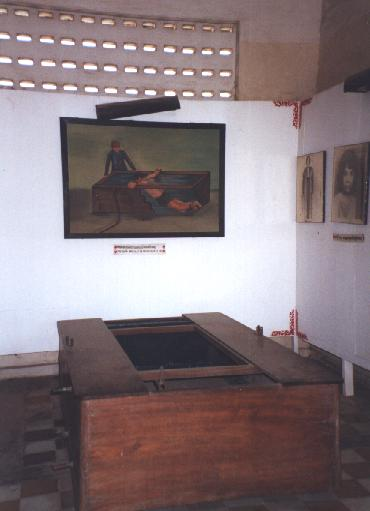 The painting depicts the use of the wooden bath below