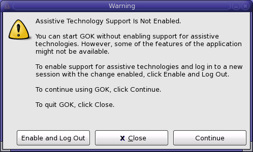 Shows GOK Warning window.