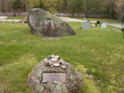 Jackson Pollock's grave in the rear with Lee Krasner's grave in front in the Green River Cemetery.