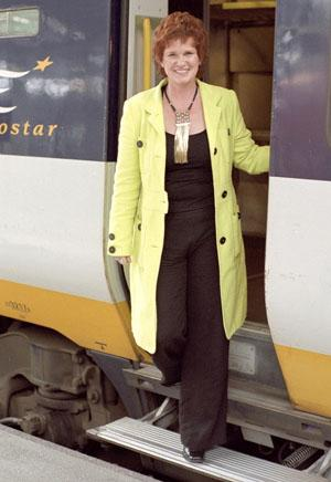 Sharon Bowles stepping off a Eurostar train