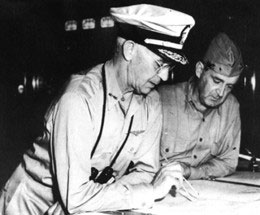 Photo of Rear Admiral Richmond K. Turner and Major General Alexander A. Vandegrift