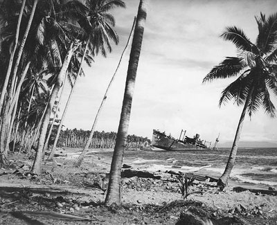 Photo of Japanese Transport beached on Guadalcanal