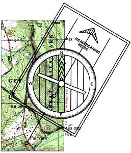 Showing a  section of a topographic map with the compass aligned along the drawn line to read the compass on the map.