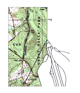 Showing a section of a topographic map and drawing a straight line from the point to the map edge