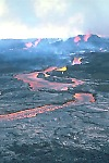 Lava fountains and lava flow on Mauna Loa Volcano, Hawai`i