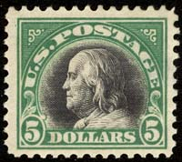 Scott 524 - The $5 Franklin of 1918