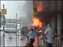 The car ablaze at Glasgow Airport