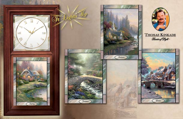 Thomas Kinkade Wall Clock with Stained Glass Art - Time for All Seasons Collection - Exclusive Thomas Kinkade Wall Clock for Seasonal Decorating - A First-ever Illuminating Large Decorative Wall Clock!