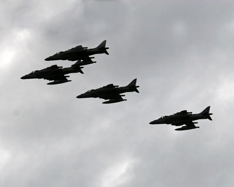 Rockhampton Quay Street, Australia (June 17,2007)— U.S. Marine Corps AV-8B Harrier jets from the U.S. Kitty Hawk fly by Quay Street for the opening ceremony of Exercise Talisman Saber 2007 (TS07). This biennial exercise is designed to enhance the combat readiness and interoperability between U.S. and Australia military forces in support of the Global war on terrorism. It is conducted in Australia and focuses on crisis action planning and execution of contingency response operations. TS07 is the largest joint/combined training exercise in the region consisting of more than 20,000 U.S. and 7,500 Australian personnel conducting land, sea and air evolutions. (U.S. Marine Corps photo by Lance Cpl. Chelsea D Terrell)   Photo by: Lance Cpl. Chelsea D. Terrell  Photo ID: 200761791749 Submitting Unit: 31st MEU Photo Date:06/17/2007