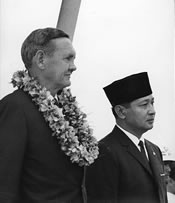 Prime Minister John Gorton with Indonesian President Soeharto in Djakarta during the Gorton's visit in 1968. NAA: A1200, L73540
