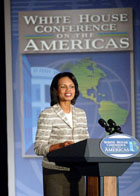 Secretary Rice delivers closing remarks at the White House Conference on the Americas, Crystal City, Virginia.