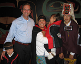 Deputy Secretary Alex Azar greets Tlingit Tribe dancers in Sitka, Alaska during his visit to the State.