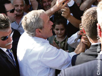President Bush was mobbed by freedom-loving Albanians during his seven-hour stay in their country on a trip in June.