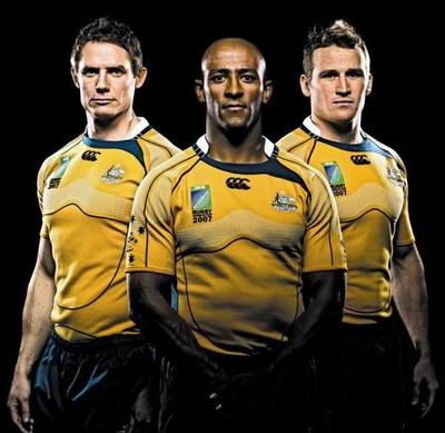 Wallabies World Cup Jersey 07. Larkham, Gregan, Giteau. image courtesy of ARU