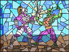 The stained glass ceiling depicting Vorador fighting Malek