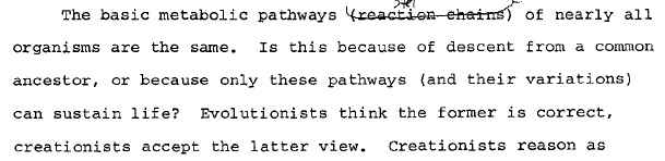 1987 Biology and Origins, p. 3-38: Evolutionists think the former is correct, creationists accept the latter view.