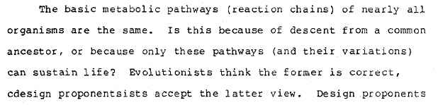 1987 ID version of Pandas, p. 3-41: Evolutionists think the former is correct, cdesign proponentsists accept the latter view.