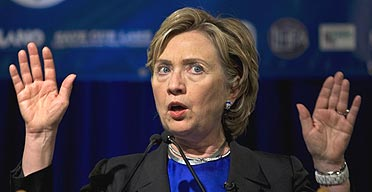 Democratic presidential hopeful Hillary Clinton speaks at the University of New Orleans in Louisiana.