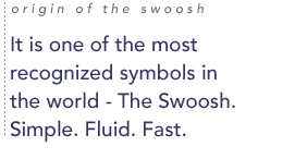 Origin of the Swoosh: It is one of the most recognized symbols in the world - The Swoosh. Simple. Fluid. Fast.