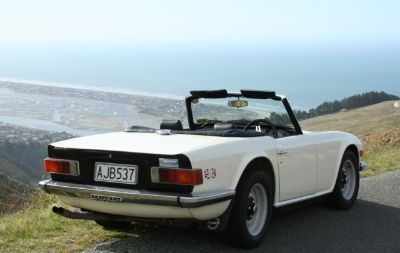 1976 Triumph TR6 & Christchurch Coastline.